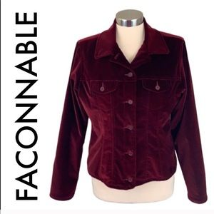 👑 FACONNABLE DEEP RED VELVET JACKET 💯AUTHENTIC